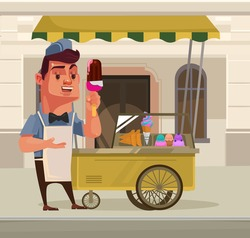 Happy smiling ice cream seller character mascot standing near ice cream car. Vector flat cartoon illustration