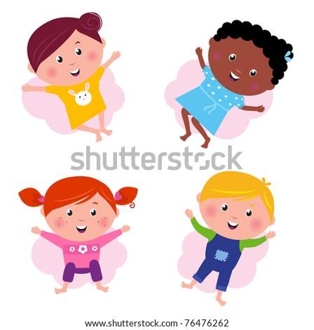 Happy smiling jumping kids. Vector Illustration. - stock vector