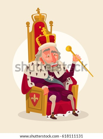 Happy smiling king man character sits on the throne. Vector flat cartoon illustration