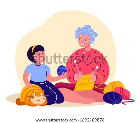 Happy Smiling Knitting Old Aged Pensioner Woman,Girl Child Together.Cosy Home Atmosphere.Elderly Grandmother Plying Needle Needlework.Knit a Sweater,Yarn Wool. Favourite Hobby.Flat Vector Illustration