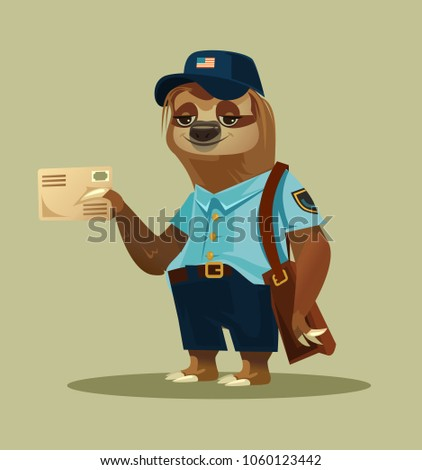 Happy smiling lazy sloth postman animal character mascot postman courier character bring deliver holding letter mail correspondence message. Delivery communication postage service transportation email