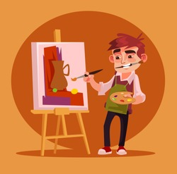 Happy smiling little boy artist character drawing picture. Vector flat cartoon illustration
