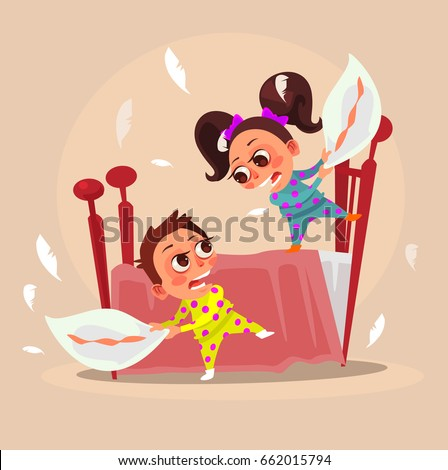 Happy smiling little children brother boy and sister girl characters fight with pillows. Vector flat cartoon illustration