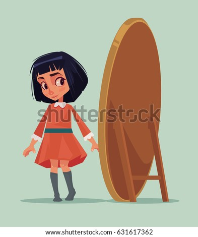 Happy smiling little girl trying new dress and looking at mirror. Vector flat cartoon illustration