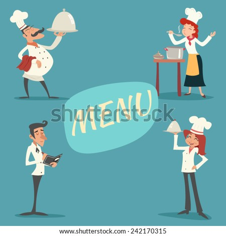 Happy Smiling Male and Female Chief Cook Waiter Garcon Serving Dish Accepts Order Symbol Food Icon on Stylish Background Retro Vintage Cartoon Design Vector Illustration