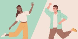 Happy smiling man and woman in comfort casual clothes dancing, celebrating vector illustration. Cheerful friends feeling good emotions, jumping and enjoying. Carefree flat characters.