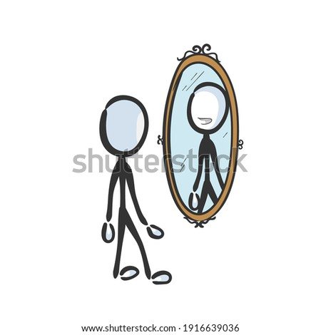 Happy smiling man looking in mirror. Vector simple self esteem reflection in the mirror. Self love stickman no face clipart cartoon. Hand drawn. Doodle sketch, graphic illustration Foto stock ©