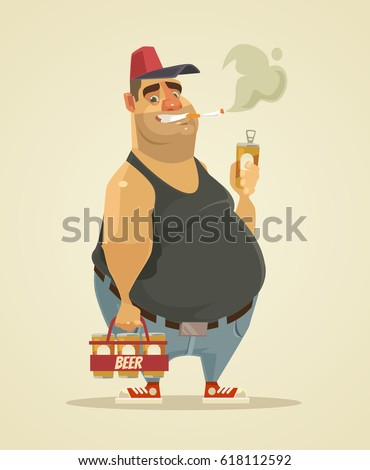 Happy smiling man smoking cigarette and drinking beer. Vector flat cartoon illustration