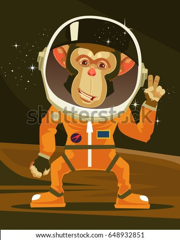 happy smiling monkey astronaut