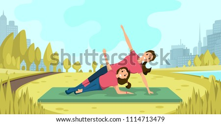 Happy Smiling Mother and Daughter Together Doing Yoga Exercises on Grassy Meadow in City Park Flat Vector Illustration. Family Fitness Outdoor, Physical Activity on Open Air, Healthy Lifestyle Concept - Shutterstock ID 1114713479