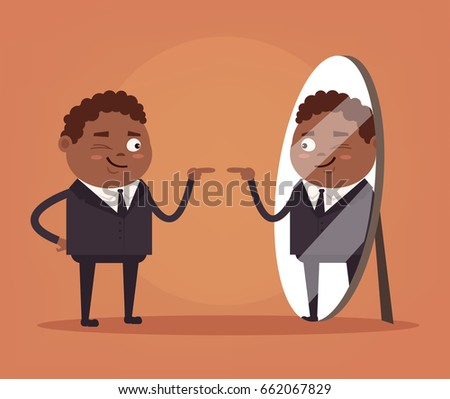 Happy smiling narcissistic black African American businessman office worker character looks at mirror. Vector flat cartoon illustration