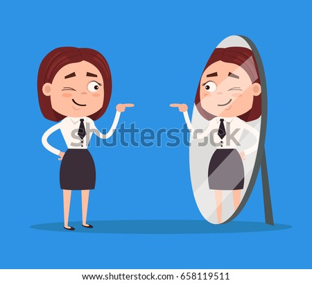 Happy smiling narcissistic business woman office worker character looks at mirror. Vector flat cartoon illustration