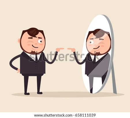 Happy smiling narcissistic businessman office worker character looks at mirror. Vector flat cartoon illustration