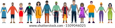Happy smiling people standing lined up and holding hands. Women and men of different races gathered together. Vector illustration