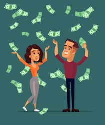 Happy smiling successful man husband and woman wife characters family standing under money rain. Lottery winner cash savings banking concept. Vector flat cartoon graphic design isolated illustration