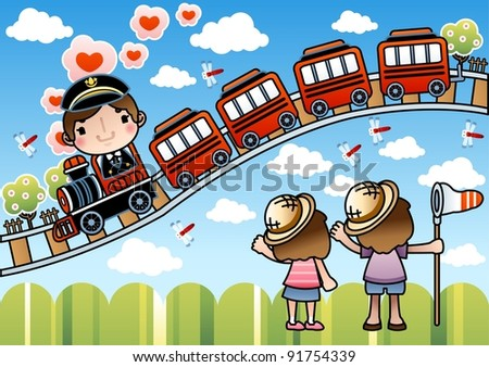Happy Smiling Train Driver with Cute Children