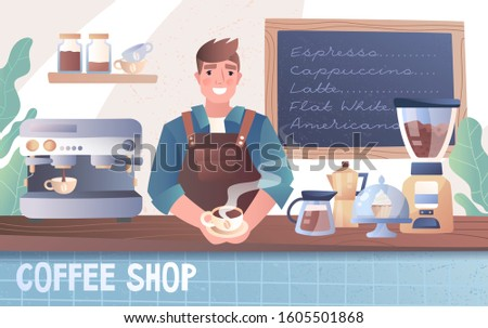 Happy smiling young male barista behind the counter in a coffee shop with coffee machine, grinders, and menu board, colored cartoon vector illustration