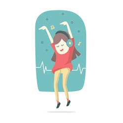 Happy smiling young woman listens to music with headphones and dancing, Vector cartoon illustration.