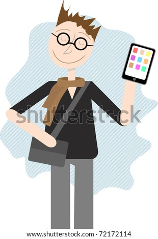Happy smug male hipster. scarf, bag and glass holds tablet PC editable vector illustration