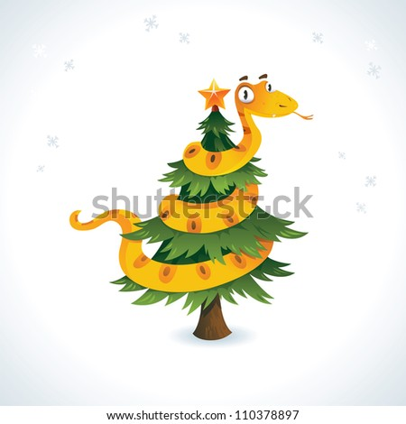 Happy snake on the christmas tree