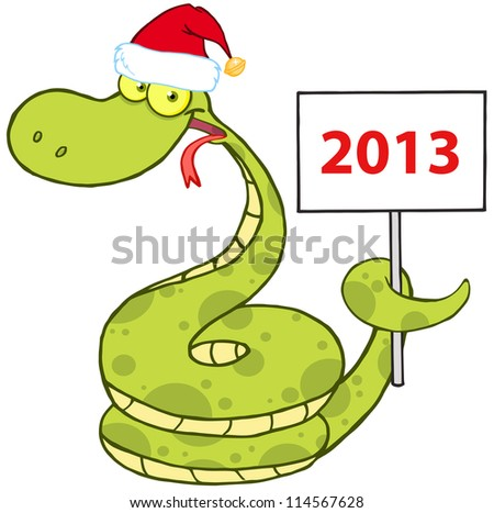 Happy Snake With Santa Hat Holding Up A Blank Sign. Vector Illustration - stock vector