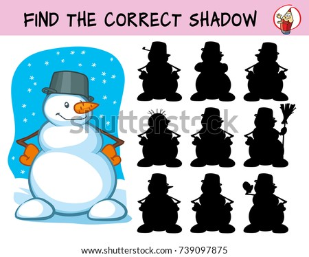 Happy snowman. Find the correct shadow. Educational matching game for children. Cartoon vector illustration