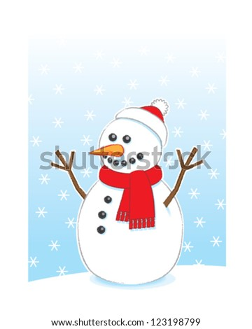 Happy Snowman with Carrot Nose and Stick Arms wearing Red Scarf and Santa Hat on Snowing Background