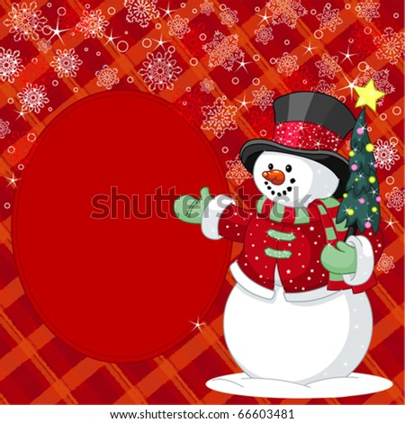 happy snowman with christmas