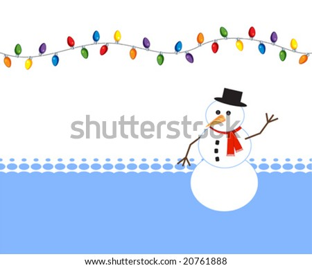 Stock Photo Happy snowman with holiday light bulbs
