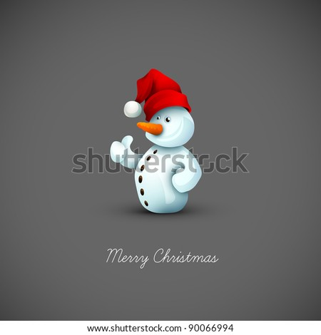 Happy Snowman with Santa's Hat | Christmas Greeting Background | EPS10 Graphic | Separate Layers Named Accordingly