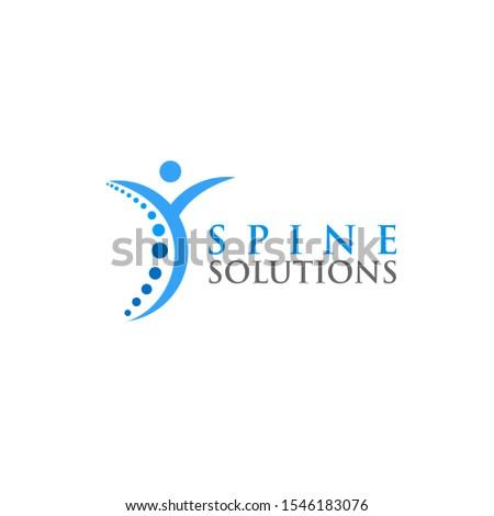 happy Spine Solutions, spine care , spine medicine logo design vector
