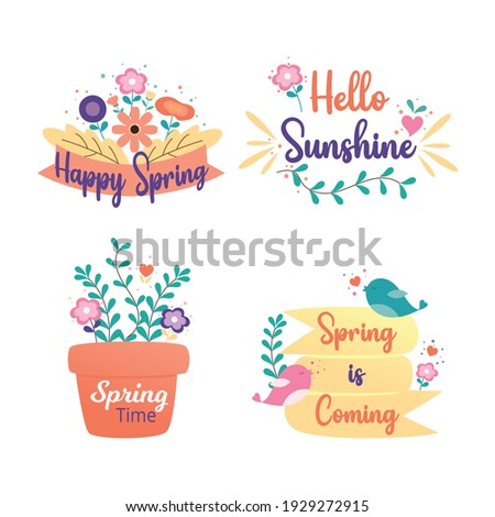 happy spring badge and label