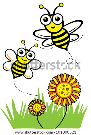 Happy spring flower with bee