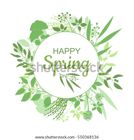 Happy Spring green card design with text in round floral frame, vector illustration. Lettering design element