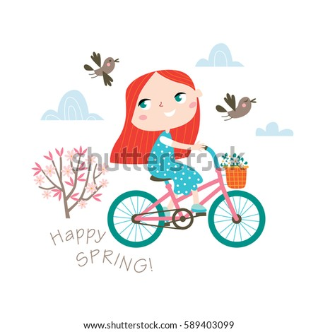 happy spring  greeting card in