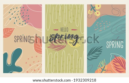 Happy spring stories background set, colorful and vectored. Flat and lined style with nature, geometric and other abstract elements in hand drawn style. Suitable for social media, post cards or ads.