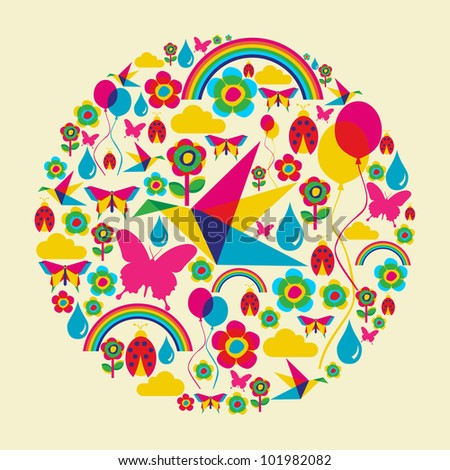 Happy spring time circle composition. Vector file available.