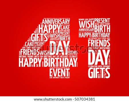 happy 41st birthday word cloud