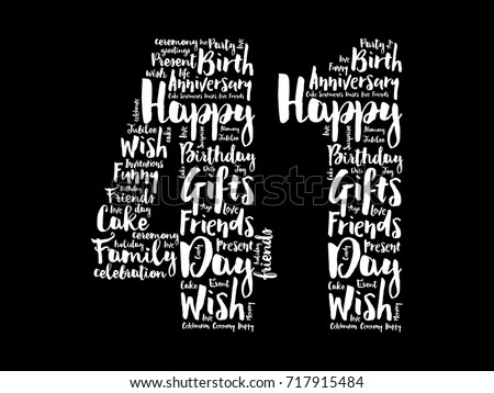 happy 41st birthday word cloud