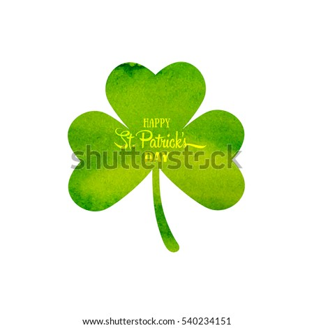 Happy St. Patrick's Day background. Green watercolor trifolium clover. Irish holiday. Vector illustration for greeting card, poster, banner
