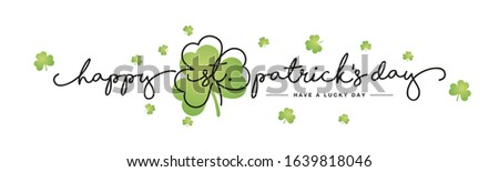 Happy St Patrick's Day handwritten typography lettering line design clover green clovers Saint Patrick holiday isolated white background banner Photo stock ©
