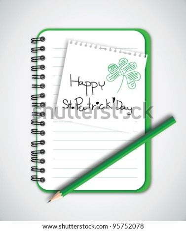 Happy St. Patrick's Day Note with Notebook Vector