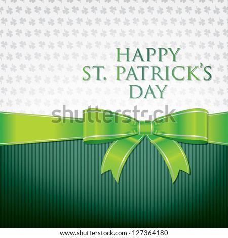 Happy St. Patrick's Day ribbon bow card in vector format.
