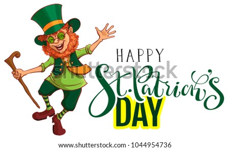 Happy St.Patrick's Day text greeting card. Red funny leprechaun gaily dances. Isolated on white vector cartoon illustration