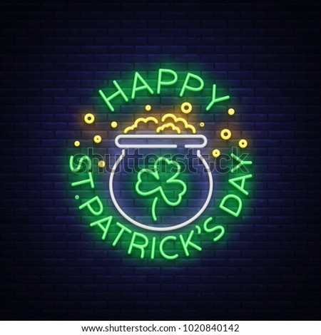 Happy St. Patrick's Day Vector Illustration in Neon Style. Neon sign, greeting card, postcard, neon banner, bright night advertising, flyer. An invitation to celebrate St Patricks Day