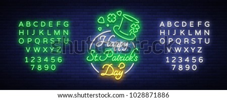 Happy St. Patrick's Day Vector Illustration in Neon Style. Neon sign, greeting card, postcard, neon banner, bright advertising, flyer. Invitation to celebrate St Patricks Day. Editing text neon sign