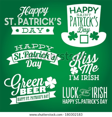 Happy St. Patrick's Day Vector Set | Kiss Me I'm Irish | Luck of the Irish | Green Beer Shamrock Lucky Vectors