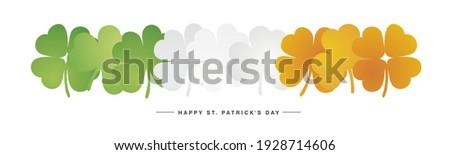 Happy St Patricks Day Irish flag with green white orange clovers background banner Foto d'archivio ©