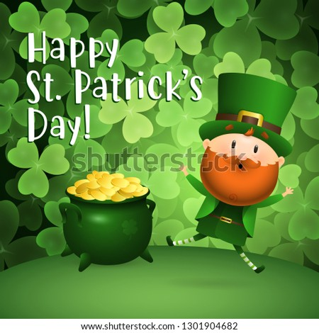 Happy St Patricks Day lettering, Leprechaun and pot of gold. Saint Patricks Day greeting card. Typed text, calligraphy. For leaflets, brochures, invitations, posters or banners.