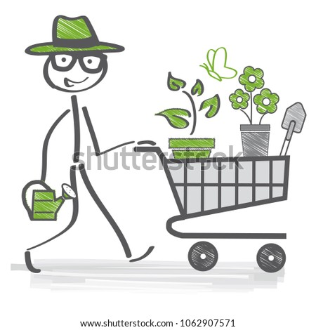 happy stick figure gardener choosing flowers and tools in garden center